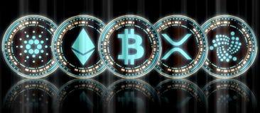 Samling av glödande blå guld- digital åtskillig crypto valutamyntuppsättning och BTC på mitt vektor illustrationer