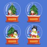 Samling av Glass snöjordklot för jul stock illustrationer