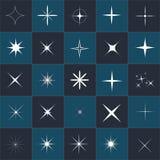 Samling av gnistrandevektorn Mousserar vita symboler Gnistrandestjärna Symboler som mousserar stjärnor Arkivbilder