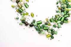 Samling av gröna glass pärlor Royaltyfria Foton