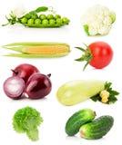 Samling av grönsaker som isoleras på den vita bakgrunden Arkivbild