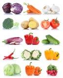 Samling av grönsallat fr för morötter för grönsakspansk peppartomater Royaltyfri Bild