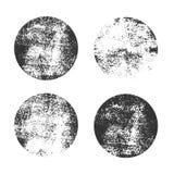 Samling av grungecirkelformer planlägg beståndsdelar för logo som brännmärker, etikett Gamla smutsiga former Royaltyfria Bilder