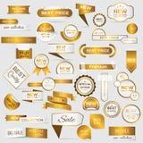 Samling av guld- högvärdiga promoskyddsremsor/klistermärkear Arkivbild