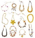 Samling av guld- halsband Royaltyfria Bilder