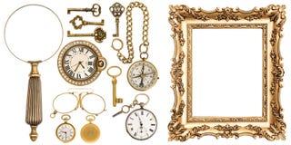 Samling av guld- objekt för tappninggodsramar arkivfoton