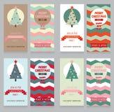 Samling av gulliga baner för julparti i retro palett Arkivfoton