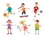 Samling av gulliga lyckliga barn som spelar sportar aktiva ungar också vektor för coreldrawillustration Arkivbild