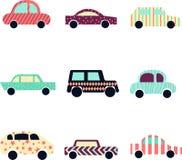 Samling av gulliga moderna bilar Bilsymbol vektor illustrationer