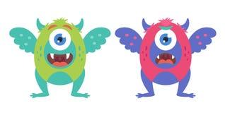 Samling av gulliga monster vektor illustrationer