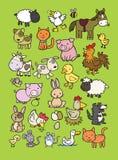 Samling av gulliga tecknade filmer för lantgårddjur Arkivbilder