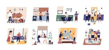 Samling av gulligt roligt folk som gör hushållsarbete Ställ in av män, kvinnor och barn som tvättar disk som gör ren fönster royaltyfri illustrationer