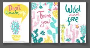 Samling av hälsningkort med den hand drog kaktuns Ljus exot royaltyfri illustrationer