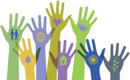 Samling av händer med symboler. Arkivfoton