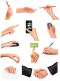 Samling av händer som rymmer olika objekt Royaltyfri Bild