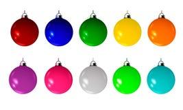 Samling av 10 härliga mång--färgade bollar, wi Royaltyfri Foto