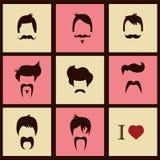 Samling av hårstilar och mustascher för hipster retro Arkivfoton