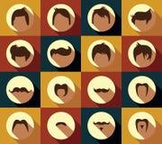 Samling av hårstilar och mustascher för hipster retro Royaltyfri Bild