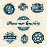 Samling av högvärdiga kvalitets- och Guaranteeetiketter Arkivfoton