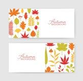 Samling av hösthorisontalbanermallar med stupade trädsidor på vit bakgrund Elegant säsongsbetonat naturligt stock illustrationer