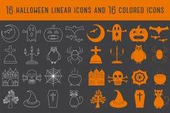 Samling av halloween 16 linjära och kulöra symboler också vektor för coreldrawillustration Arkivfoton