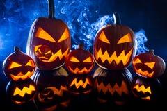 Samling av halloween pumpa Arkivfoto