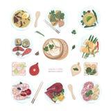 Samling av hand dragen färgrik disk av asiatisk kokkonst på vit bakgrund Läckra mål och mellanmål vektor illustrationer