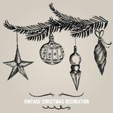 Samling av hand dragen juldecortion ferie stock illustrationer