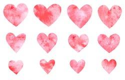 Samling av hand drog röda hjärtor för vattenfärg Fotografering för Bildbyråer