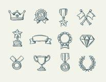 Samling av handdrawn utmärkelsesymboler för klotter vektor illustrationer