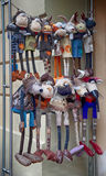 Samling av handgjorda mjuka leksaker Arkivfoto