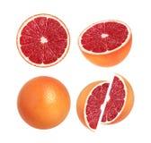 Samling av hel grapefrukt och skivor som isoleras på vit bakgrund royaltyfri fotografi