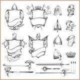 Samling av heraldiska beståndsdelar för vektor, hjälmar och medeltida vapen vektor illustrationer