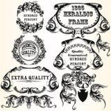 Samling av heraldiska ramar för vektor för design Fotografering för Bildbyråer