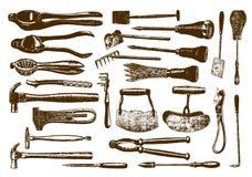 Samling av historisk maskinvara stock illustrationer