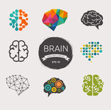 Samling av hjärnan, skapelse, idésymboler och royaltyfri illustrationer
