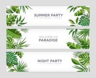 Samling av horisontalrengöringsdukbanermallar med grön tropisk lövverk av exotiska djungelväxter och träd och ställe stock illustrationer