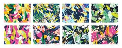 Samling av idérika abstrakta horisontalbakgrunder eller bakgrunder med trädfilialer, sidor, färgrika fläckar och vektor illustrationer