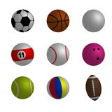 Samling av illustrationen för sportbollvektor Arkivfoto