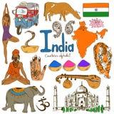 Samling av Indien symboler Arkivfoton
