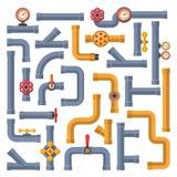 Samling av industriella konstruktion och olja för ventil för gas för vattenrörbransch stock illustrationer