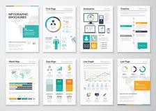 Samling av infographic broschyrvektorbeståndsdelar för affär Arkivfoto
