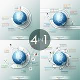 Samling av 4 infographic designmallar med papper märkte beståndsdelar som förläggas runt om jordklotet stock illustrationer