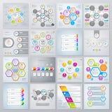 Samling av infographicsbeståndsdelar i modern plan affärsstil vektor illustrationer