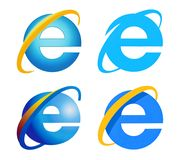 Samling av Internet Explorerlogoen arkivbild