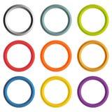 Samling av 9 isolerade cirkelramar med vit copyspace Royaltyfri Fotografi