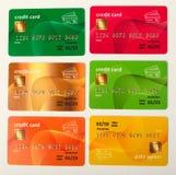 Samling av isolerade färgglade kreditkortar Arkivfoton