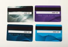 Samling av isolerade färgglade kreditkortar Royaltyfria Foton