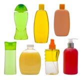 Samling av isolerade schampoflaskor och tvålutmatare Fotografering för Bildbyråer