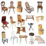 Samling av isolerade stolar royaltyfri bild